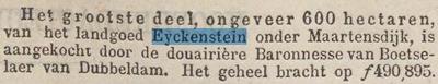 Krantenbericht n.a.v. veiling Eyckenstein